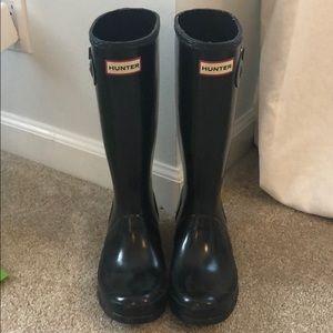 Kids Glossy Black Hunter Boots